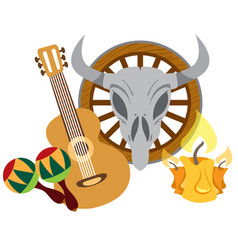 guitar maracas cow skull on a wheel color of a vector image