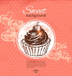 Hand drawn vintage sweet background vector
