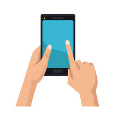 Hand holding black smartphone touching blue screen vector