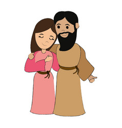 Mary and joseph holy family icon image vector