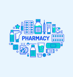 medical drugstore banner pharmacy vector image