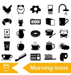 Morning wake up theme black icons set eps10 vector