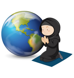 Muslim girl in black costume praying vector