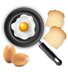 Omelet in frying pan with bread and egg vector image vector image