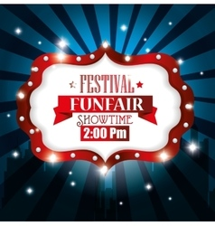 Poster festival funfair light background vector