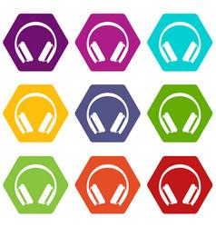 Protective headphones icon set color hexahedron vector
