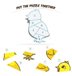 Puzzle game for children chicken vector image