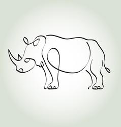 Rhinoceros in minimal line style vector image vector image