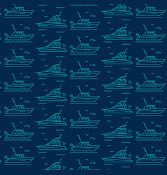 seamless pattern icons of marine boats yachts vector image