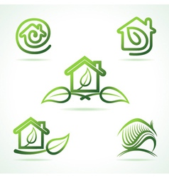 Set of eco home icons vector