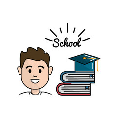 Student with books and hat graduation vector