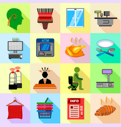 Supermarket service icons set flat style vector