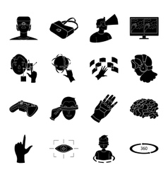 Virtual reality set icons in black style Big vector image vector image