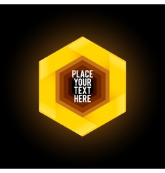 Yellow hexagon shape on dark background vector image