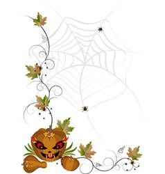 Corner of pumpkins and leaves vector image