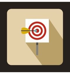 Target with darts icon flat style vector