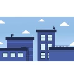 Blue buildings skyline landscape of vector