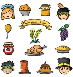 Cartoon thanksgiving set on doodles vector