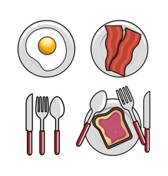 Different breakfast dishes egg spoon fork knife vector
