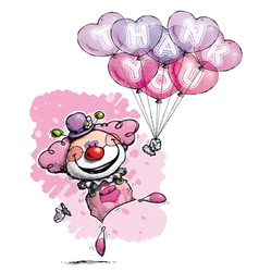 Clown with heart balloons saying thank you girl vector