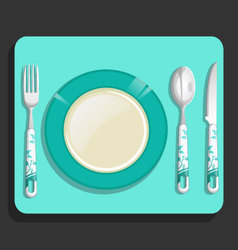 Empty plate and fork knife spoon vector