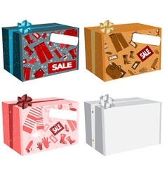 Sale cardboard boxes vector