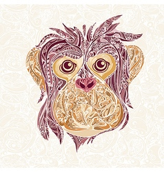 Decorative head of monkey symbol new year vector