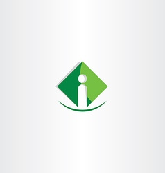 Green letter i icon logo business symbol vector