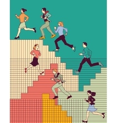 Group business people run upstairs carrier color vector