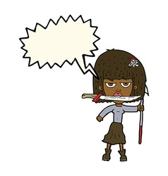 Cartoon woman with knife and harpoon with speech vector