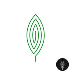 One green leaf linear style logo maze mystery vector