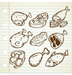 Meat doodle set vector