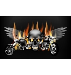 Fiery motorcycles on the background of a skull vector