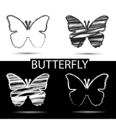 Black and white drawing butterfly symbol of beauty vector