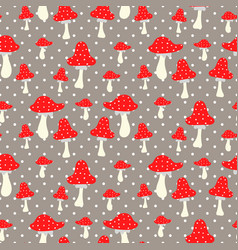 amanita seamless pattern poison cartoon vector image