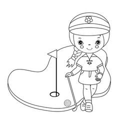 Black and white little girl golfer vector