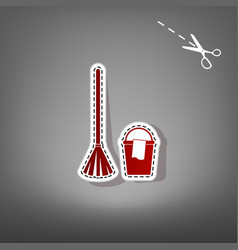 Broom and bucket sign red icon with for vector