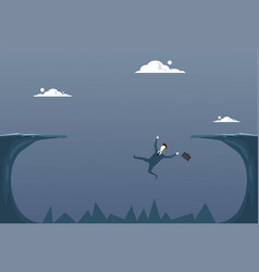 business man falling in cliff gap businessman fail vector image