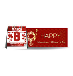 calendar with festive date march 8 international vector image vector image