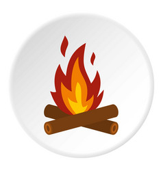 Camp fire icon circle vector