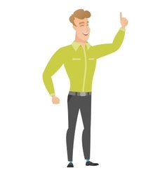 Caucasian businessman pointing with his forefinger vector