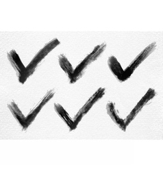 Check mark ink sketch on watercolor paper vector image vector image