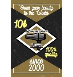 Color vintage hairdresser salon banner vector image
