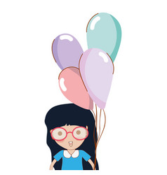 cute girl with balloons in the hand vector image vector image