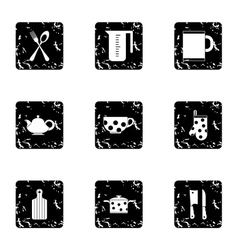 Dishes icons set grunge style vector