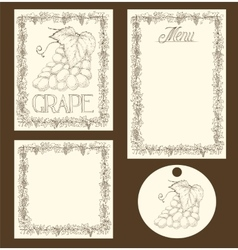 Grape menu pages card and tag design set vector