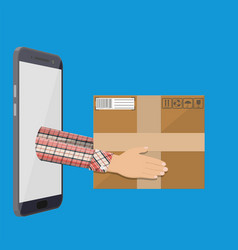 hands with postal cardboard box and smartphone vector image