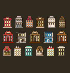 Isolated colorful low-rise municipal houses in vector