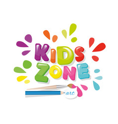 Kids zone colorful banner cartoon letters and vector