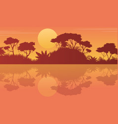 Landscape tree on the jungle with reflection vector